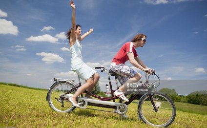 A tandem bicycle downhill