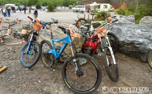 Orange downhill Mountain bikes